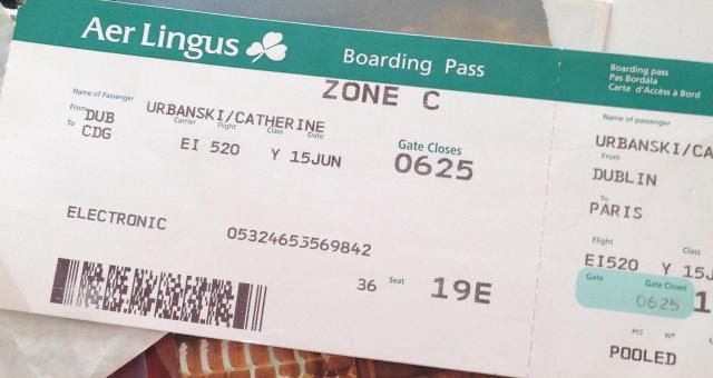 Aer Lingus Dublin to Paris boarding pass