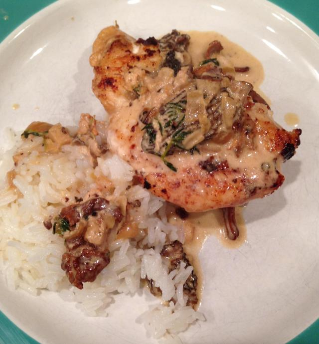 Another view of the chicken topped with Morel