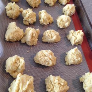 Corn cookie dough ready to bake