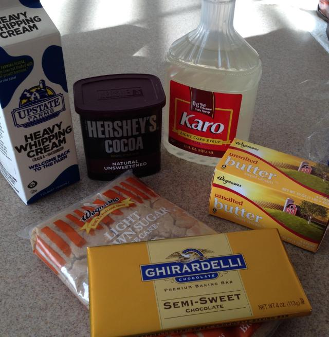 Ingredients for the chocolaty fudgy sauce
