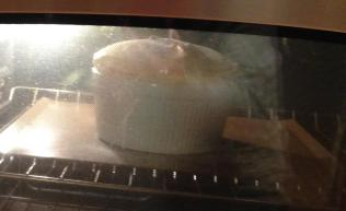 Note the souffle on the cookie sheet