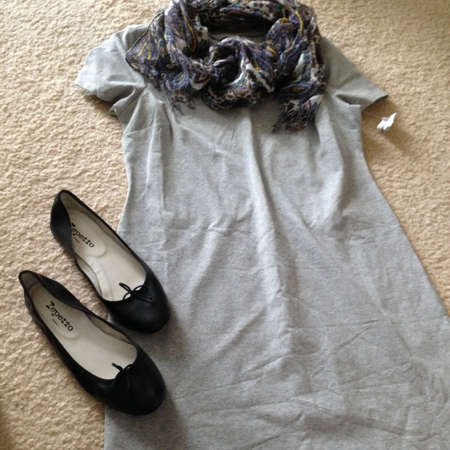 Old Navy Find 10.00 dress. cute look with my black repettos and jacrew scarf