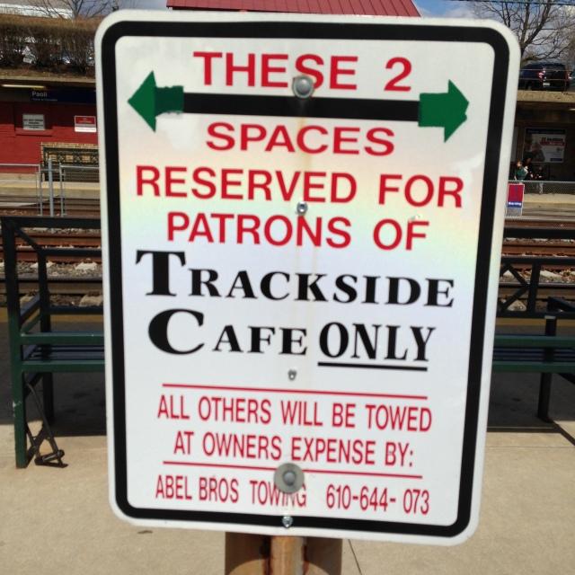 trackside cafe sign