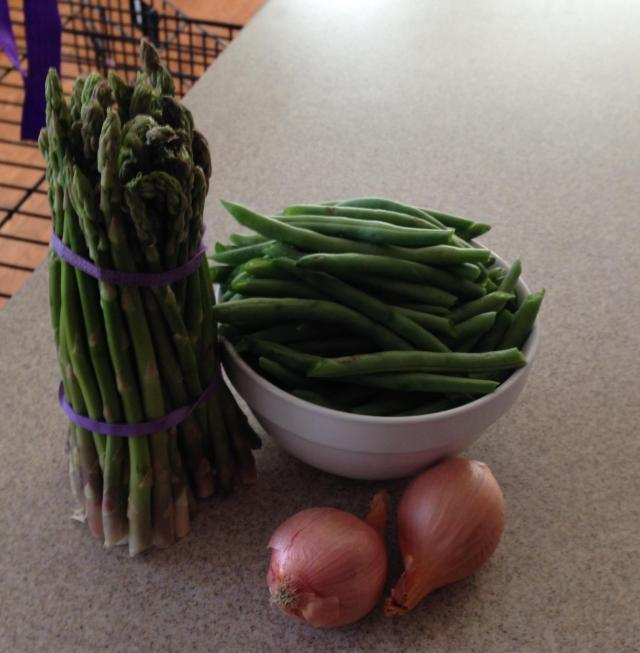 haricot vert snipped asparagus ready and shallots