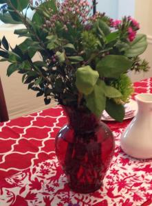 re repurposed flowers as centerpiece