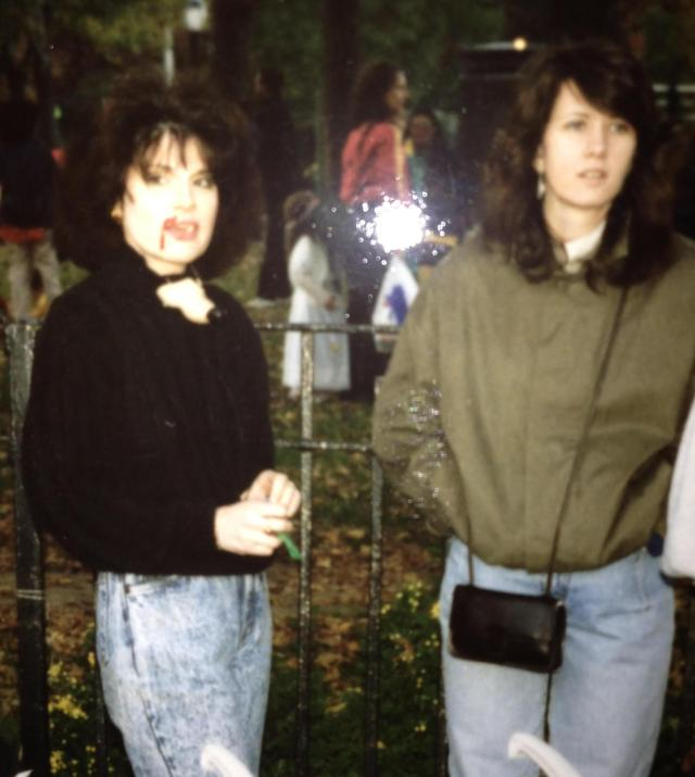 Me and Jeannie. Mommies Supreme. Halloween. late 80's. That blood on my face was fake. I won't say what my costume was.