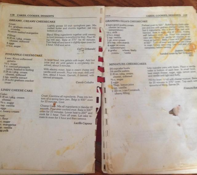 St. Ignatius Loyola School Cookbook. My cheesecake recipe upper left-hand corner