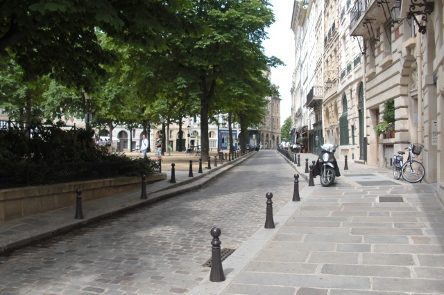 Paris Place Dauphine view from right side of streed to Pont Neuf