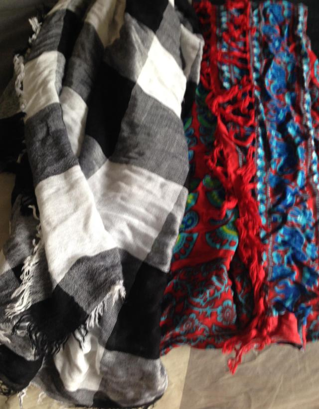 Two scarfs to be multi tasked for both turkey neck and as beach cover ups.