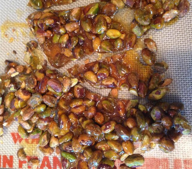 Homemade pistachio brittle for nougatine