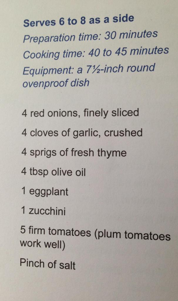 Ingredients for Tian Provencal