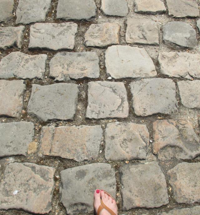 Maintenon. Cobblestones. How did these women walk in heels