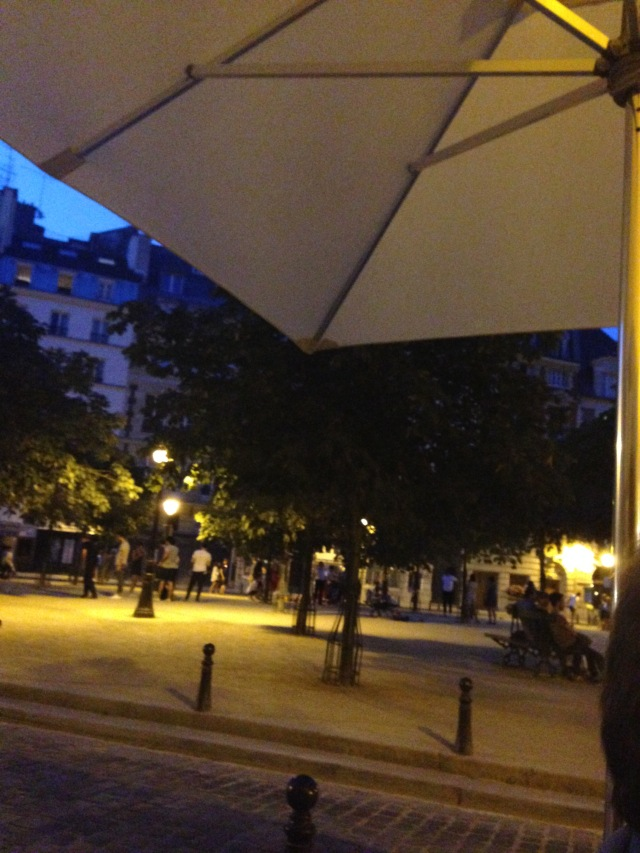 Paris. Place Dauphine. After 10 PM and still not totally dark.