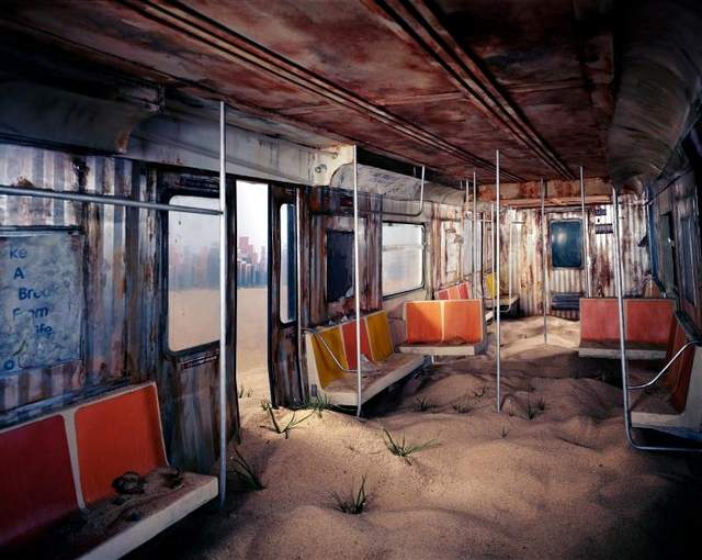 subway car filled with sand