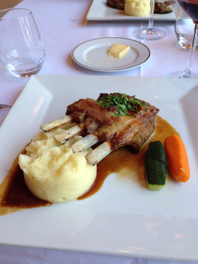 Theoule. Clubhouse. My main plat. Lamb, potatoes what a great last dinner in Theoule!