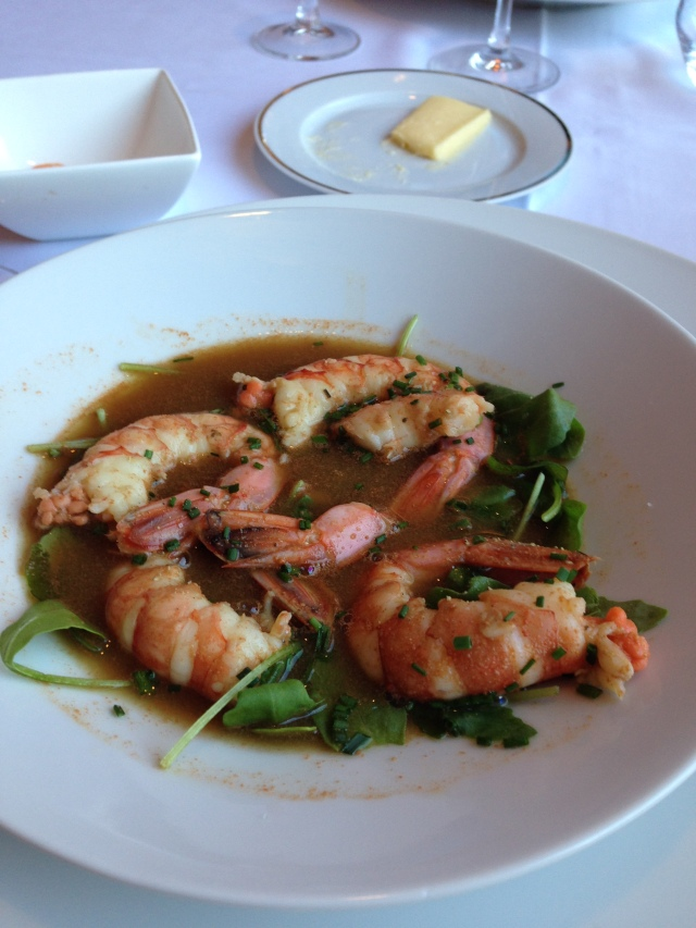 Theoule. Clubhouse. My shrimp entree