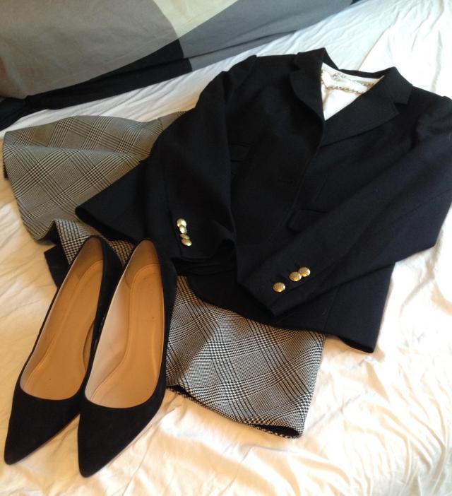 Black plaid J. Crew skirt. This time wiwth a white t and black schoolboy blazer.