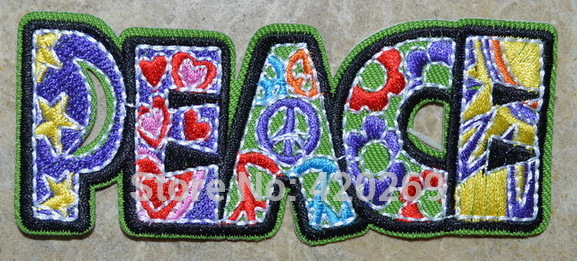 HOT-SALL-Free-Shipping-Peace-Biker-hippie-retro-Iron-On-Patches-sew-on-patch-Appliques-Made
