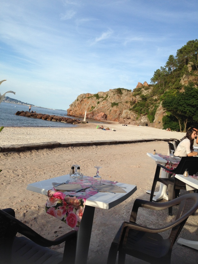 L'Aiguille. View of the beach from the table.