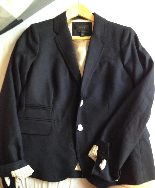 Navy J. Crew School Boy Blazer. never worn. It's my backup for when my other one is in the dry cleaners.