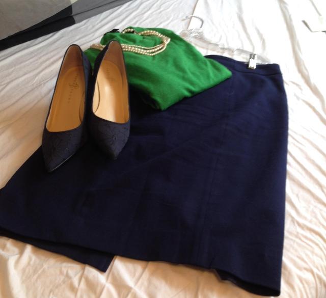 Navy pencil skirt. Ivanka Trump navy pumps bright green tippi. pearls. again