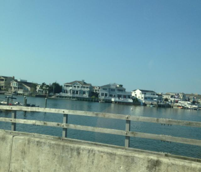 on the bridge houses on the bay