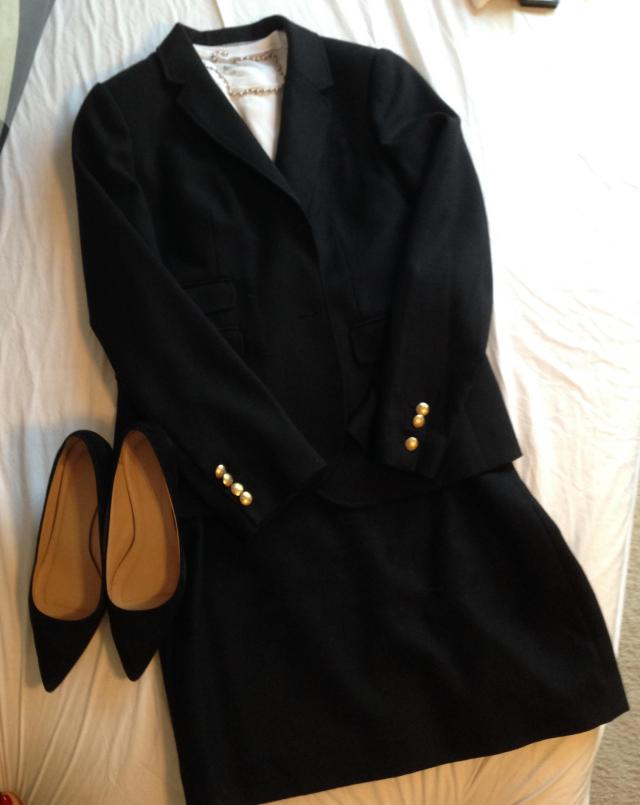 Same blazer, black pencil skirt white t. Kind of serious business look