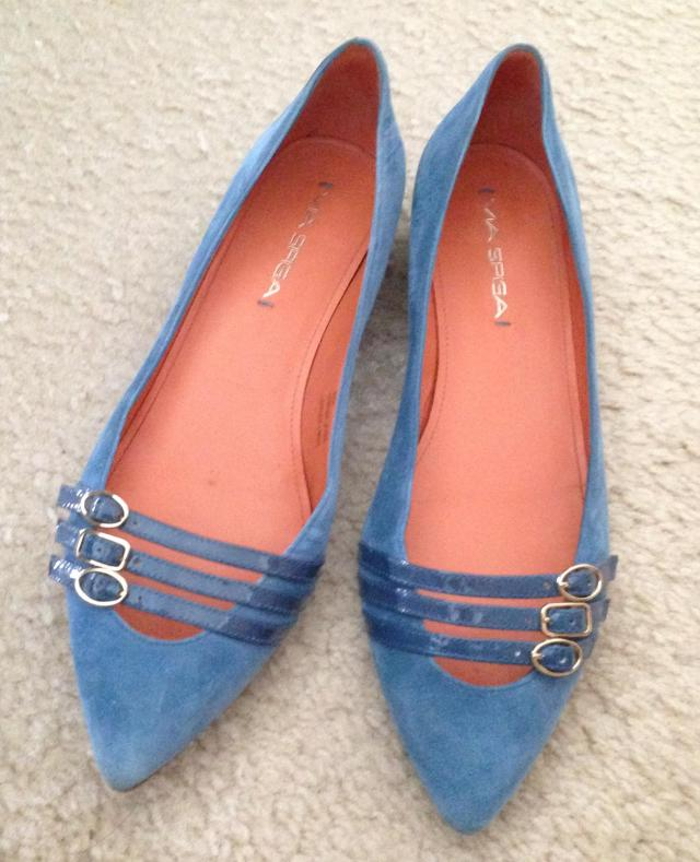 Via Spiga leather suede and patent flats about 49.00 on sale
