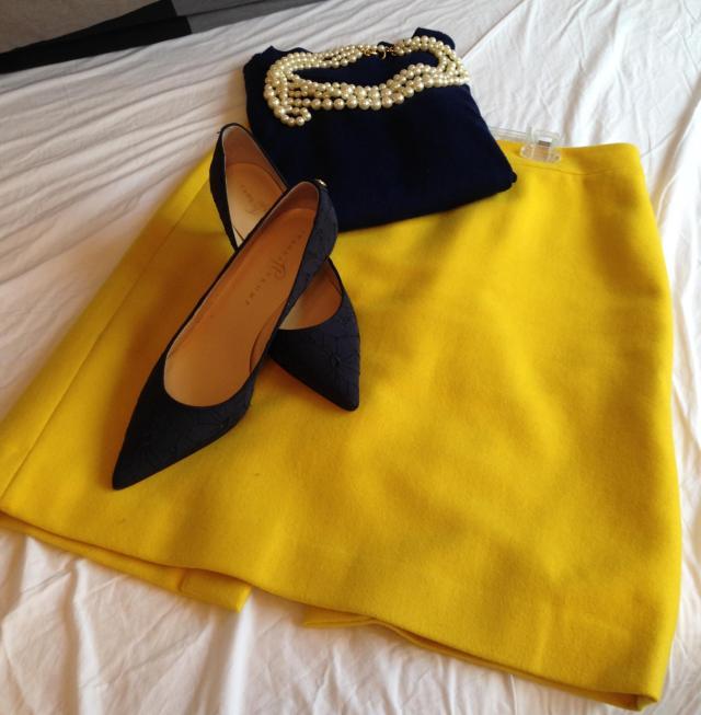 Yellow j. crew pencil skirt. navy tippi navy pumps