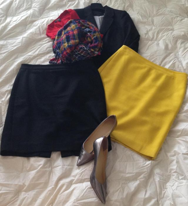 Black Number 2 Pencil skirt. Yellow factory pencil skirt. blazer