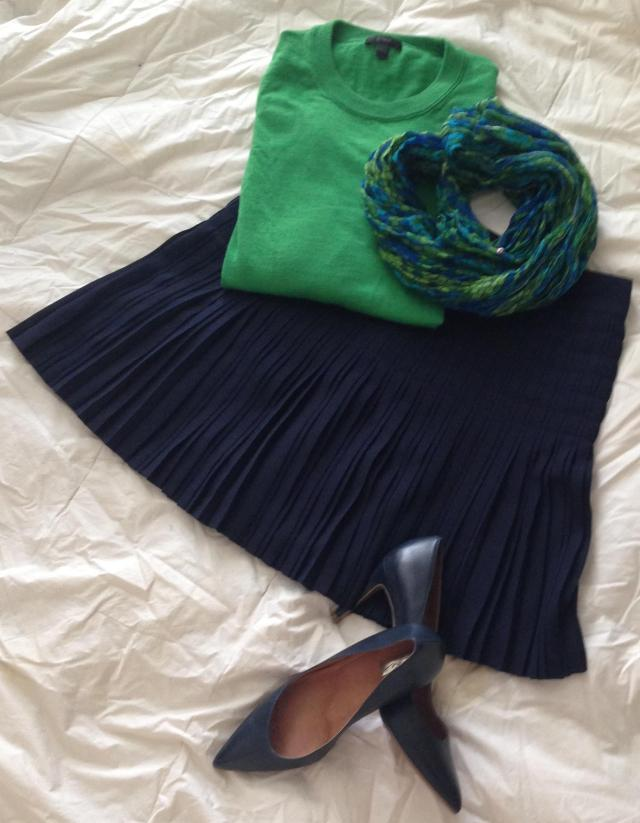Emerald Tippi. Lilly Pulitzer Murfee scarf. J. Crew Factory skirt. Halogen Shoes.