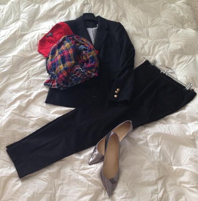 J. Crew Black pants. J. Crew Black Schoolboy . J. Crew Red Tippi. Old Navy Scarf. Ivanka Trump shoes.
