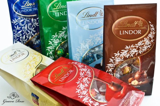 Various bags colored Lindt Lindor Truffles
