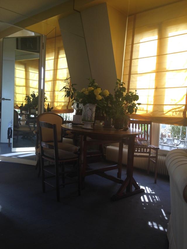 Paris. Daniele's Apartment view of little table in salon.