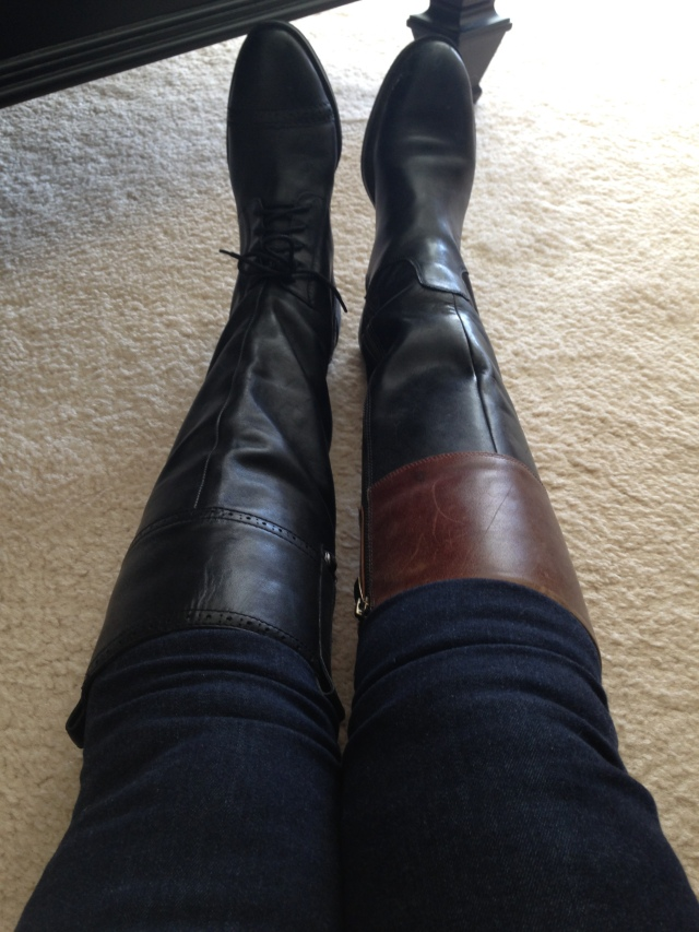 Sam Edelman boots left. Enzo Angolini boots right. Jeans bunched up.