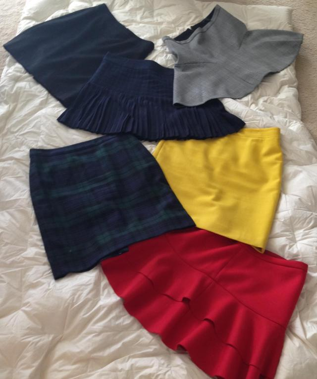 Some of the J. Crew and Factory skirts