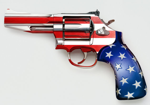 Stars and stripes on gun