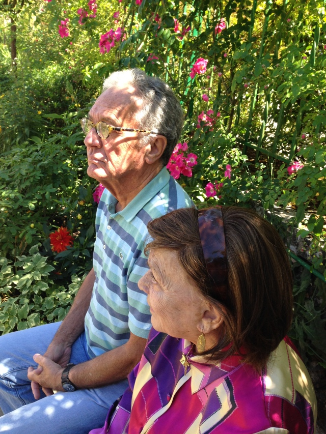 Giverny. Vincent and Daniele relaxing under the trees.