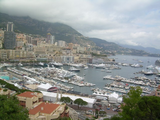 Monaco. View of the harbor on a cloudy day.