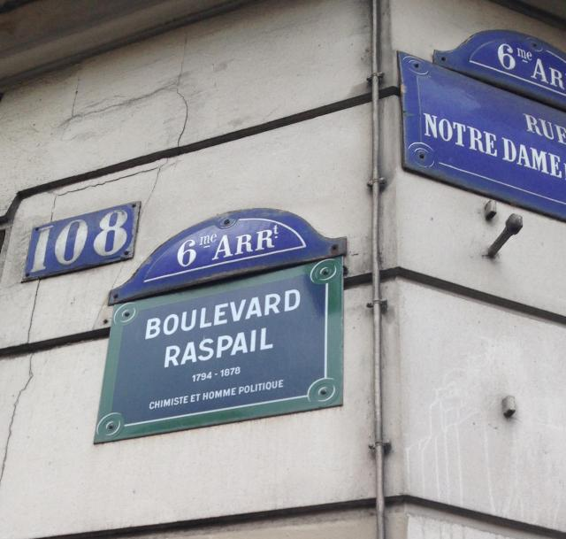 Paris. Blvd. Raspail sign.