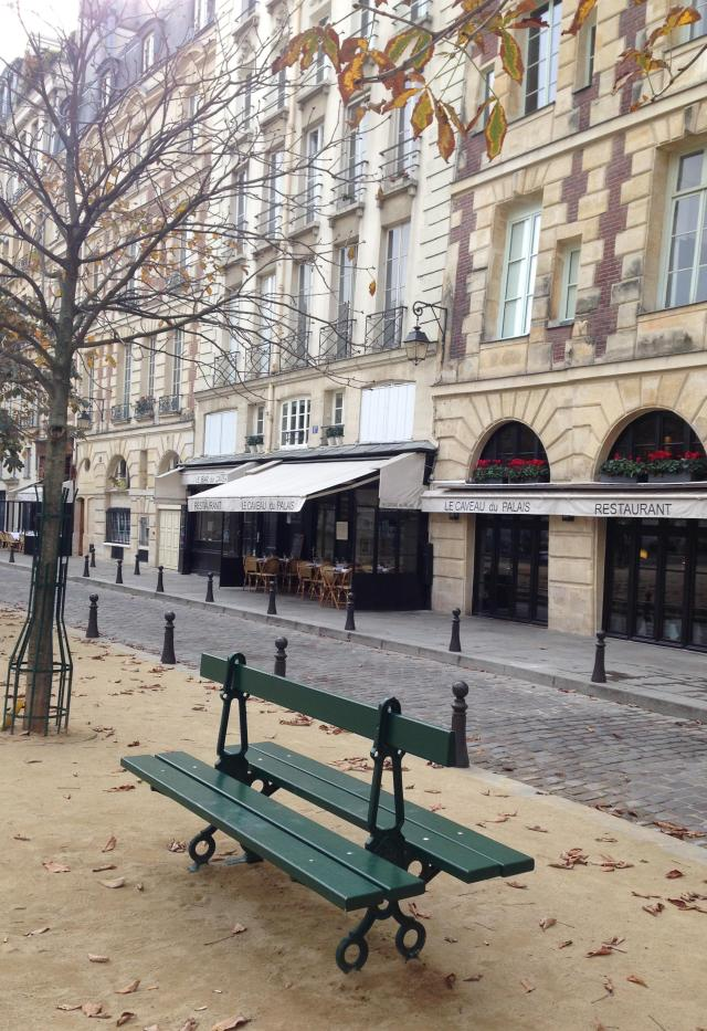 Paris. Day. Place Dauphine. Lonely Bench