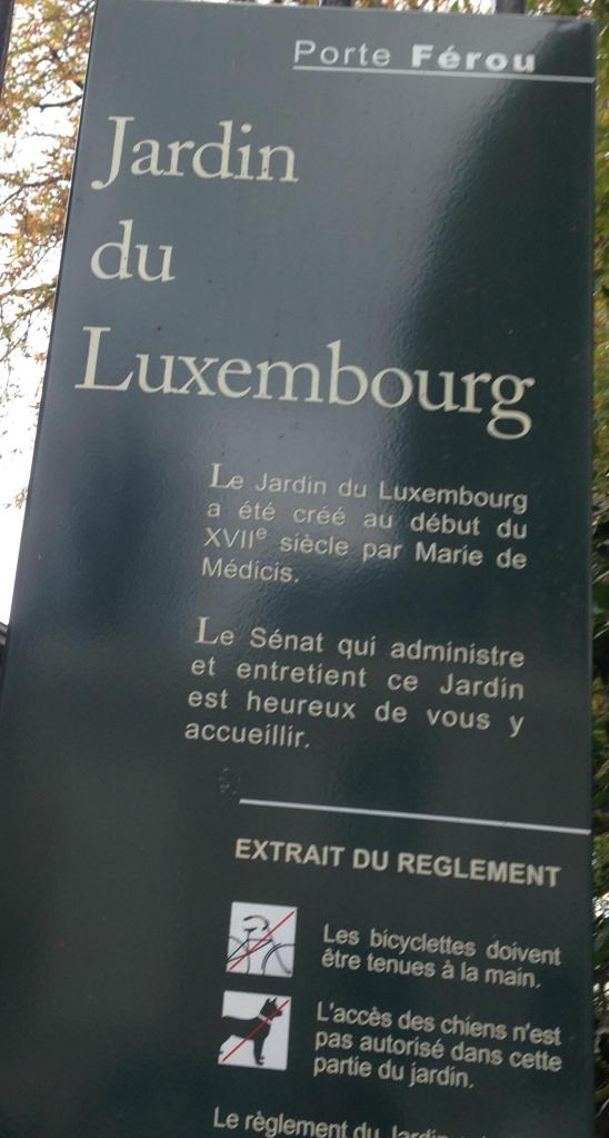 Paris. Jardin du Luxembourg sign