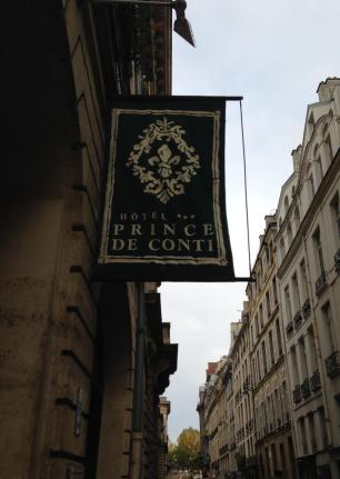 Paris. Prince de Conti Hotel sign in the wind