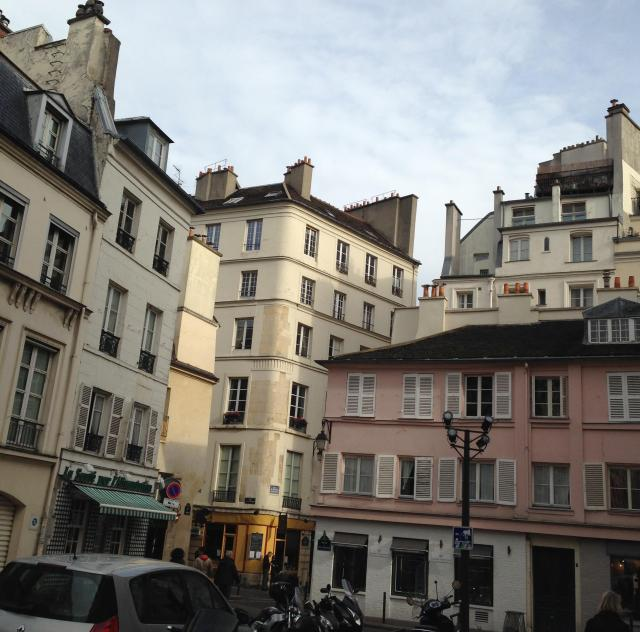 Paris. St. Germain des Pres. Pink house with crooked windows
