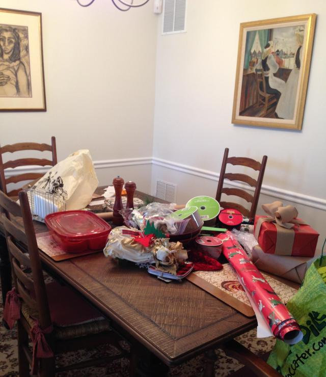 Messy Dining Room: Wiggin' And Wrapping It!