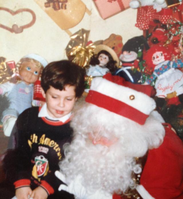 Jake with Santa. 1988. Roman was sleeping