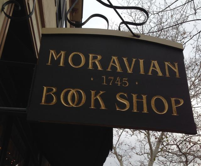 Moravian Book Shop sign