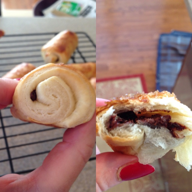 Pain au chocolate inside and out