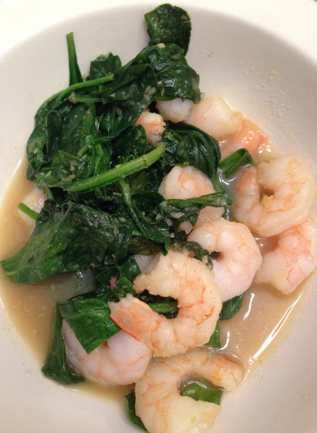 shrimp and spinach in a ginger chicken broth