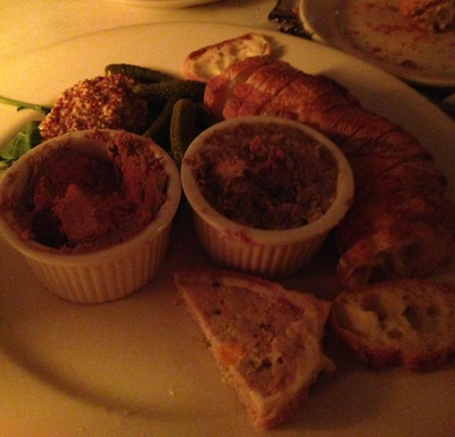 chicken liver pate, country pate and rillettes! Yum!